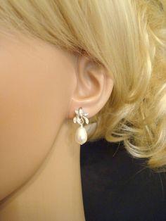 Bridal earrings, vintage wedding jewelry, orchid flower stud earrings with Swarovski crystals
