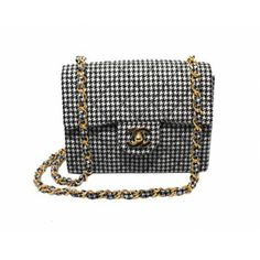 Chanel Black & White Houndstooth Mini Classic Flap Shoulder Bag