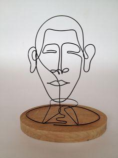wire portrait on base