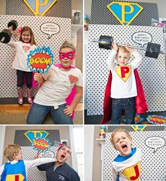 Superhero Theme: Photo booth w/ props--making people look like they're in the comic...super perfect for my super hero party for the kiddo's (and me) this summer.