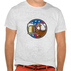 Bald Eagle Hoisting Beer Stein USA Flag Circle Ret Shirt. Illustration of an american bald eagle hoisting mug glass of beer stein viewed from the side with usa american stars and stripes flag in the background set inside circle done in retro style. #Illustration #BaldEagleHoistingBeerStein