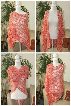 Crochet: chal (shawl) o tapado de primavera! Tutorial del paso a paso en video :) Crochet Scarves, Crochet Shawl, Crochet Clothes, Free Crochet, Knit Crochet, Shawl Patterns, Crochet Patterns, Things To Make With Yarn, Bolero