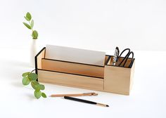 Minimal Wood Desk Organiser | Curbly