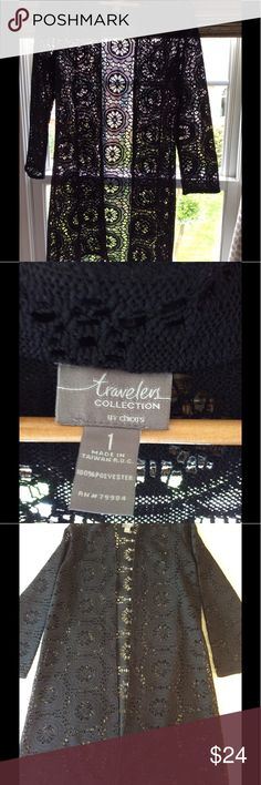 """Chicos Travelers Collection Topper Like new summer topper.  Breezy, beautifully made, nice weight fabric, 7/8 sleeve length, adds finishing touch to an outfit.  28"""" from underarm.  Size 1 is advertised as an 8 but it definitely runs big. Chico's Other"""