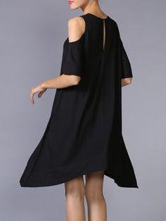 Black Asymmetrical Cutout Crew Neck Half Sleeve Midi Dress