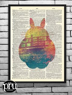 Take Me to Totoro Original Studio Ghibli Print on an Unframed Upcycled Bookpage
