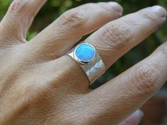 Opal ring Silver ring with blue Opal stone made to order- holiday ring. $89.00, via Etsy.