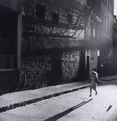 Jules Aarons  -  Running in late Afternoon, West End, Boston / Silver Gelatin Print  -  8.75 x 8.25