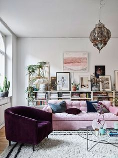 Living Room Pink Microsuede Tufted Convertible Sofa Maroon Velvet Barrel  Chair Transparent Round Glass Coffee Table Grey Turkish Pendant Lamp White  Wool ...
