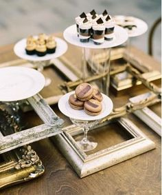 dessert bar decorated with vintage-looking frames
