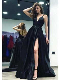 Newest Spaghetti Straps Prom Dresses V-Neck Long Evening Dresses 996021538