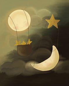 Sun Moon Print - Sun Moon Illustration- Eclipse Art Print on Etsy,