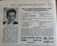 Frank Sinatra's Italian Tomato Sauce and Meatballs Frank Sinatra Dolly SInatra's Recipe for Spaghetti and Meatballs Retro Recipes, Old Recipes, Vintage Recipes, Meat Recipes, Pasta Recipes, Italian Recipes, Cooking Recipes, Italian Foods, Italian Cooking