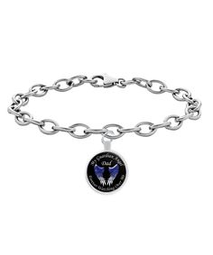 My Dad is my Guardian Angel Forever Watching Over Me Remembrance In Loving Memory Bracelet. Three Color Choices Blue Wings, Pink Wings or Purple Wings  High quality sterling plated bracelet chain.  8 inch bracelet chain that fits great on anyone.  Pendant is 1 inch in diameter.  ***UV Resistant * Waterproof * 100% Made In The USA ***Sterling plated pendant with a custom hardened resin insert to show the highest quality color vibrance in your bracelet possible.  #dad #guardianangel