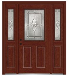 Shown is a Master Nouveau 1/2 Lite 2-Panel Fiberglass Oak Entry Door with Sidelites Stained Windsor Cherry. Like what you see? Visit DoorBuy.com!