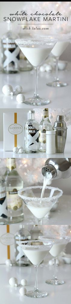 Godiva white chocolate liquor, vanilla vodka and white creme de cocoa.   I…