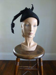 40's Black Felt Feather Hat Dramatic Movies Hat