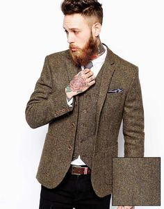 ASOS Slim Fit Blazer and Vest In Khaki Harris Tweed at ASOS