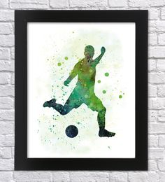 Soccer player watercolor art, Soccer player print, Soccer poster, Soccer player silhouette, Football player, Boys wall decor, Sport decor by Recyman on Etsy