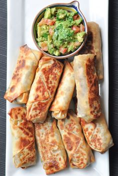 Baked Southwestern Eggrolls with Guacamole Dip