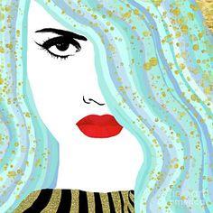 Painting - Francesca Has Mermaid Hair, Golden Bokeh, Fashion Art by Tina Lavoie