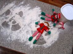 More elf on the shelf ideas, including snow/flour angels in kitchen!