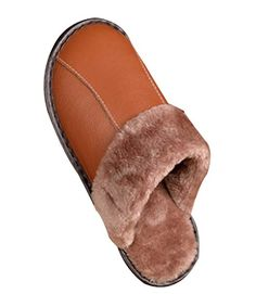 3fd6a5b22 Cattior Mens Fur Lined Winter Warm Leather Slippers Fluffy Slippers Review Leather  Slippers, Mens Slippers