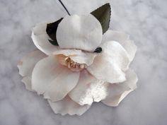 Vintage 1950s millinery flower Panne velvet and taffeta flat back