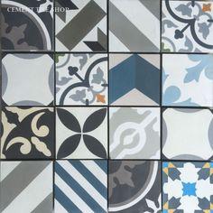 """Cement Tile Shop - Encaustic Cement Tile Patchwork Random - 4"""" x 4"""""""