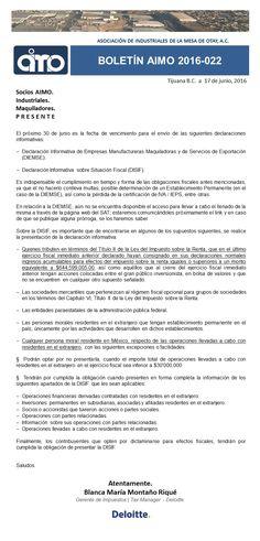 BOLETÍN AIMO 2016-022: DELOITTE. | VENCIMIENTOS PRÓXIMOS  Conoce todos nuestros boletines en nuestra pagina WEB   http://www.aimoac.com/#!boletines/a450d