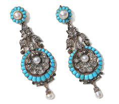 Victorian silver and turquoise earrings