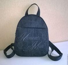 Купить Рюкзак джинсовый Memento Mori - темно-серый, рюкзак, рюкзачок, рюкзак женский