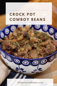 Crock Pot Cowboy beans are the perfect way to get a hearty one pot meal. Bacon, ground beef and beans that all cook while you get on with your life. It's a win/win! Slow Cooker Recipes, Crockpot Recipes, Large Crock Pot, Beans In Crockpot, Cowboy Beans, Hamburger Meat Recipes, Crock Pot Cooking, Baked Beans, One Pot Meals