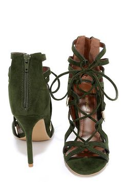 Millennial Magic Olive Green Suede Lace-Up Heels at Lulus.com!