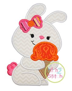 Bunny Ice Cream Applique Design For Machine by TheItch2Stitch, $4.00