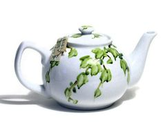 Painted White Ceramic Tea Pot with Green Ivy by BetweenTheWeeds, $65.00