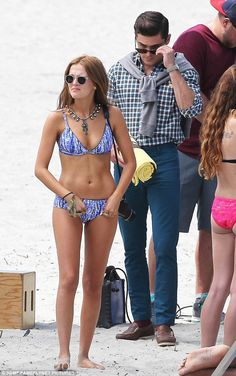 Scoping the babes: Zac Efron was back on the set of Dirty Grandpa in Georgia on Monday and was spotted checking out his co-star Zoey Deutch who wore a patterned blue bikini