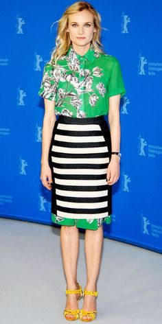 Diane Kruger - Look of the day in stripes & florals
