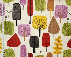 Retro Scandinavian fabric  tree leaf fall forest purple red gold green modern graphic yardage available