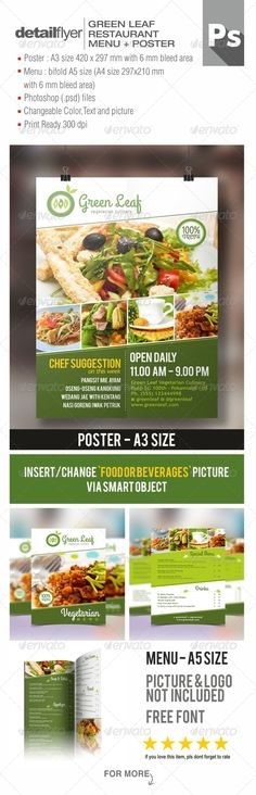 Vegetarian Restaurant Menu & Poster PSD Template | Buy and Download: http://graphicriver.net/item/vegetarian-restaurant-menu-poster/8157400?WT.ac=category_thumb&WT.z_author=Royan&ref=ksioks