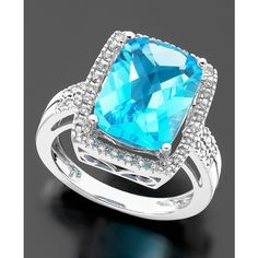 14k White Gold Ring, Blue Topaz (7-1/2 Ct. T.W.) And Diamond (1/5 Ct. T.W.), found on polyvore.com