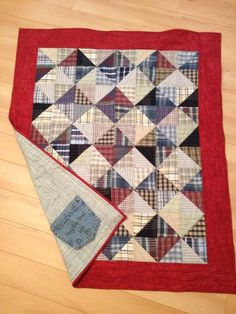 Made with my dad's shirts for my sister - Bev Drew Cute Quilts, Scrappy Quilts, Small Quilts, Easy Quilts, Mini Quilts, Patchwork Quilting, Baby Memory Quilt, Memory Quilts, Patch Quilt