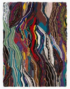 """""""The abstract 'paintings' by artist Jayson Musson (also known by his alter-ego Hennessy Youngman) are created from piecing together Coogi sweaters, a brand of sweater popular in the late 1980′s and early 90′s. The sweaters carry especially specific associations – Clifford Huxtable of the TV sitcom the Cosby Show or the rapper Notorious B.I.G. However, the sweaters are also known for a specific style that lends itself well to abstract art.""""-Beautiful Decay"""