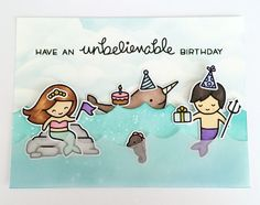 the Lawn Fawn blog: Lawn Fawn Birthday Card by SN Prints (using Mermaid for You, Party Animal, Lovable Legends)