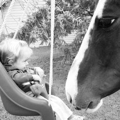 """Evan Longmiller, take this photo of her daughter, Finley, who is smitten with a horse named Daisy. Evan writes that she is raising Finley as a vegan """"to teach her how important it is to be kind and gentle not only to humans, but to all living creatures. Hoping she grows up and looks at an animal and thinks 'friend' not 'food.' """" What a lucky girl that she will never be taught to turn off her compassion for some animals!"""