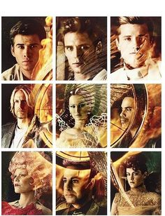 Gale, Finnick, Peeta, Haymitch, Katniss, Cinna, Effie, Caesar y Johanna.