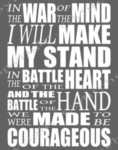 Courageous lyrics printable poster