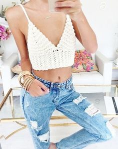 #summer #style / knit crop top