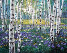 Meadow of Amethyst by Jennifer Vranes - acrylic impressionism / birch masterpiece