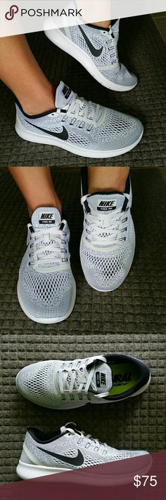 Women's 8.5 Nike Free Run in Grey / Black / White Brand new women's size 8.5 Nike Free RN in White / Black - Pure Platinum. Super comfy shoes! Nike Shoes Athletic Shoes